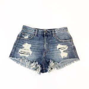 HOLLISTER High Waisted Distressed Denim Shorts